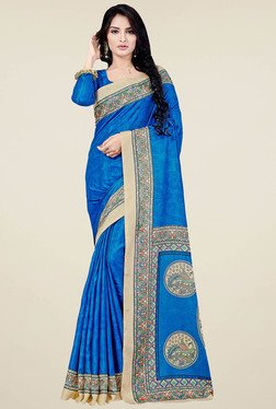Saree Mall Blue Printed Manipuri Silk Saree