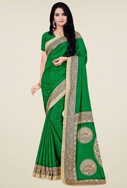 Saree Mall Dark Green Manipuri Silk Saree With Blouse