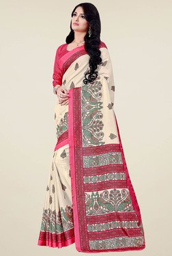Saree Mall Cream & Magenta Printed Saree With Blouse