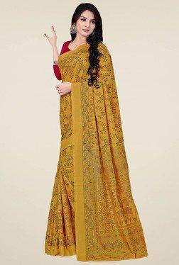 Saree Mall Mustard Printed Manipuri Silk Saree With Blouse