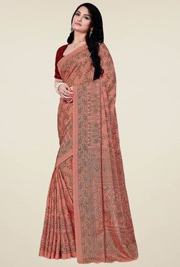 Saree Mall Brown Printed Manipuri Silk Saree With Blouse