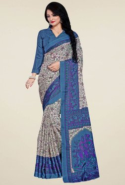 Saree Mall Cream & Sky Blue Manipuri Silk Saree With Blouse