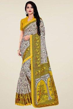 Saree Mall Yellow & White Manipuri Silk Saree With Blouse