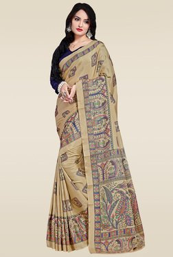 Saree Mall Beige Manipuri Silk With Saree With Blue Blouse