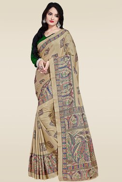 Saree Mall Beige Manipuri Silk Saree With Green Blouse