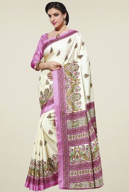 Saree Mall Off-White & Pink Manipuri Silk Saree With Blouse