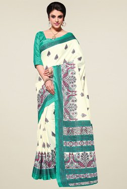 Saree Mall Off-White & Green Manipuri Silk Saree With Blouse