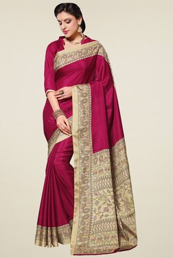 Saree Mall Dark Pink Printed Manipuri Silk Saree With Blouse
