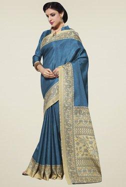 Saree Mall Blue Printed Manipuri Silk Saree With Blouse