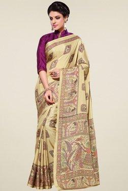 Saree Mall Beige & Purple Manipuri Silk Saree With Blouse