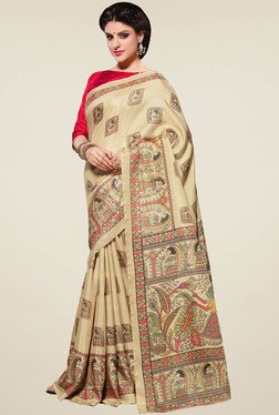 Saree Mall Beige & Red Manipuri Silk Saree With Blouse