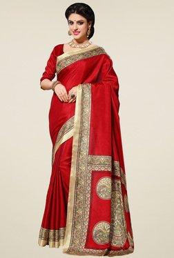 Saree Mall Red Printed Manipuri Silk Saree With Blouse