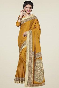 Saree Mall Yellow Printed Manipuri Silk Saree With Blouse
