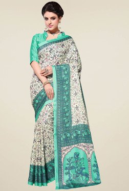 Saree Mall Cream & Sea Green Manipuri Silk Saree With Blouse