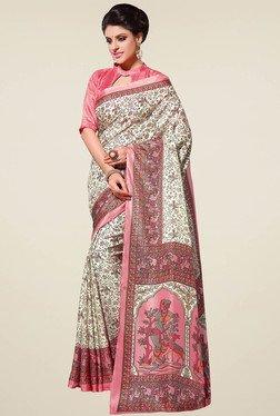 Saree Mall Cream Printed Manipuri Silk Saree With Blouse