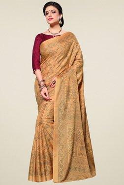 Saree Mall Beige Printed Manipuri Silk Saree With Blouse