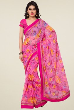 Saree Mall Pink Printed Saree With Blouse