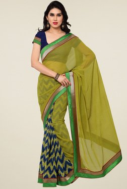 Saree Mall Green & Navy Printed Saree With Blouse