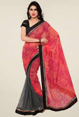 Saree Mall Pink & Black Printed Saree With Blouse