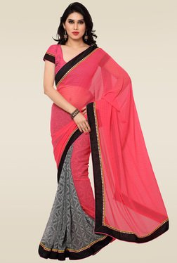 Saree Mall Pink & Grey Printed Saree With Blouse
