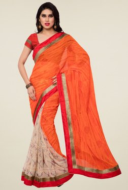Saree Mall Orange & Beige Printed Saree With Blouse