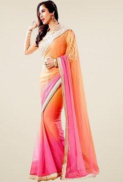 Ethnic Basket Pink & Peach Zari Saree With Blouse