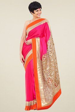 Ethnic Basket Pink Embroidered Saree With Blouse