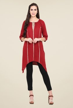 Fashion Eva Maroon Cotton & Rayon Embroidered Kurti