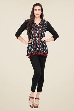 Fashion Eva Black Cotton Printed Kurti