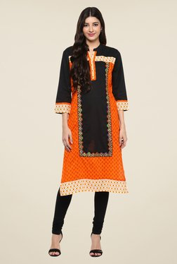 Prakhya Orange Embroidered Kurta