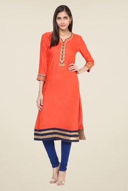Prakhya Peach Embroidered Kurta