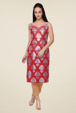 Ahalyaa Red Printed Kurta - Mp000000000910771