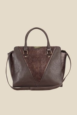 Lavie Lynx Brown Snake Skin Textured Handbag