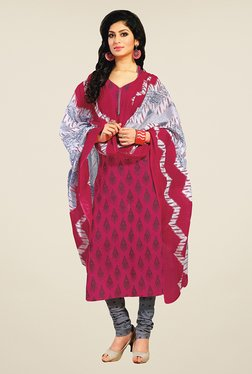 Salwar Studio Pink & Grey Printed Cotton Dress Material