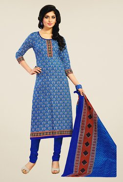 Salwar Studio Blue Floral Print Cotton Dress Material