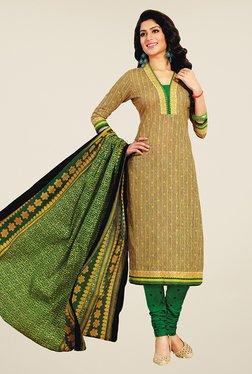 Salwar Studio Mustard & Green Printed Cotton Dress Material