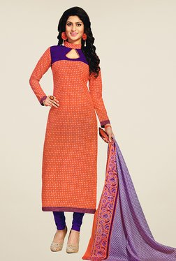 Salwar Studio Orange & Purple Printed Cotton Dress Material