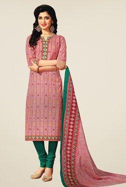 Salwar Studio Pink & Green Printed Cotton Dress Material