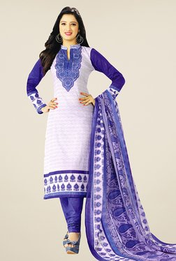 Salwar Studio White & Blue Printed Cotton Dress Material