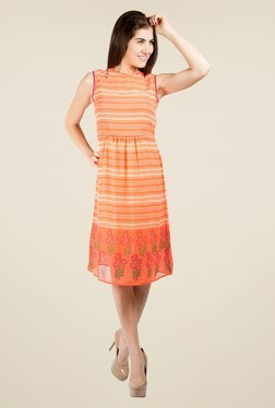 109 F Orange Striped Dress