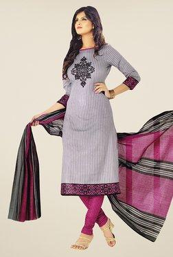Salwar Studio Grey & Pink Striped Cotton Dress Material