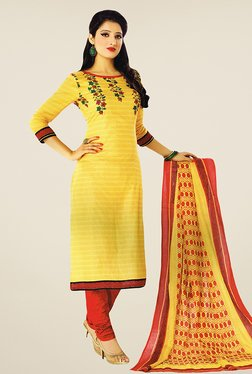 Salwar Studio Yellow & Red Printed Cotton Dress Material