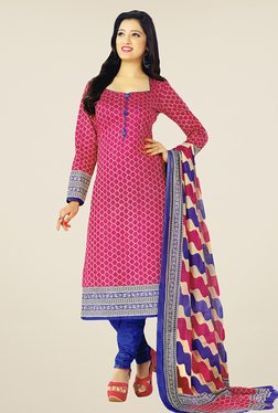 Salwar Studio Pink & Blue Printed Cotton Dress Material