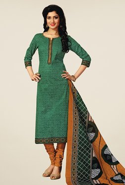 Salwar Studio Green & Brown Printed Cotton Dress Material