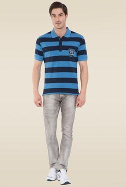 Jockey Persian Blue & Navy Half Sleeve Polo T-Shirt - US93