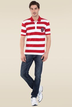 Jockey Worldly Red & White Half Sleeve Polo T-Shirt - US93