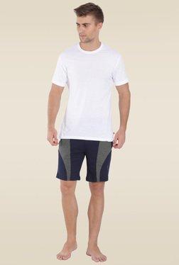 eaed2c844d878 Jockey Navy   Charcoal Melange Knit Sport Shorts - 9411
