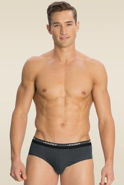 Jockey Dark Grey Square Cut Brief Pack of 2 - 8037