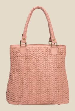 Risa Baby Pink Intricate Weaven Leather Tote Bag