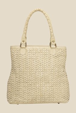 Risa Beige Intricate Weaven Leather Tote Bag